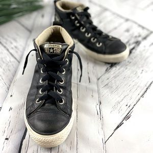 Converse Chuck Taylor Street Oxford Mid Rise Sneakers Leather Size 8